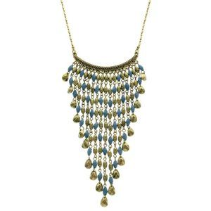 Express burnished gold and blue stone necklace